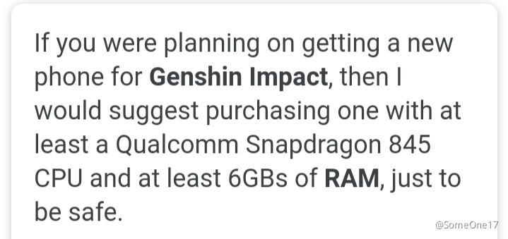 Suggested Minimum Specs Phones Genshin Impact Official Community